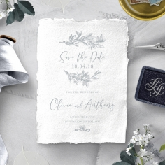 Leafy Wreath wedding stationery save the date card