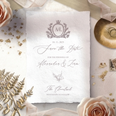 Royal Crest save the date wedding stationery card design