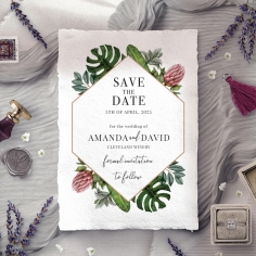 Tropical Island save the date invitation stationery card