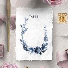 Blissful Union wedding reception table number card stationery design