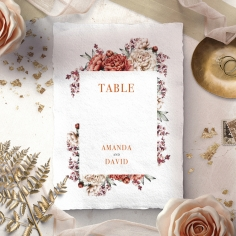 Blossoming Love wedding table number card stationery item