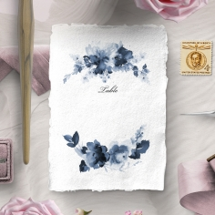Blue Wonderland wedding reception table number card stationery