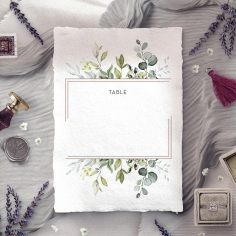 Botanic Romance wedding venue table number card design