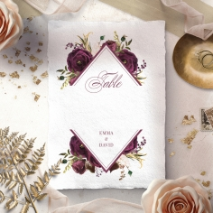 Burgandy Rose wedding table number card stationery