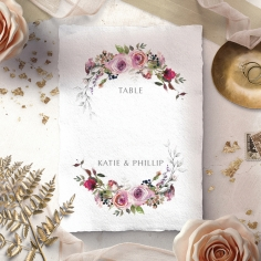 Watercolor Rose Garden wedding venue table number card stationery design