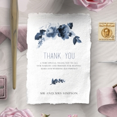 Blue Wonderland wedding thank you stationery card design