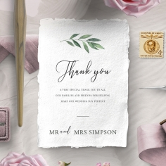 Modern Greenery wedding thank you card design
