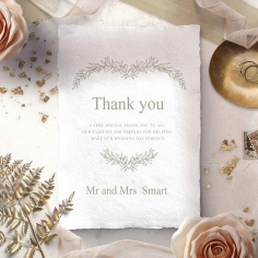 Preppy Wreath wedding stationery thank you card design