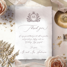 Royal Crest wedding thank you stationery card