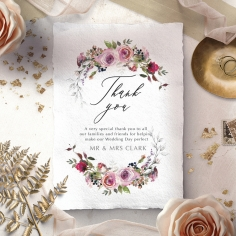 Watercolor Rose Garden wedding thank you card