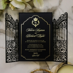 Black Victorian Gates with Foil Invitation