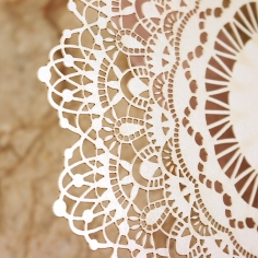 Ivory Doily Elegance with Foil Wedding Invitation Design
