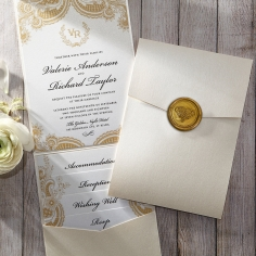 Prosperous Golden Pocket Wedding Invitation