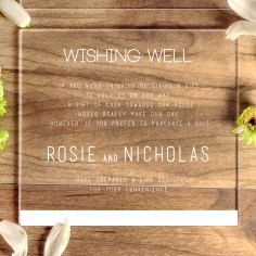 Acrylic Minimalist Love gift registry enclosure stationery invite card design