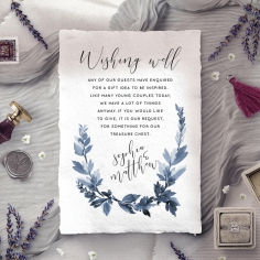 Blue Forest wedding wishing well invite