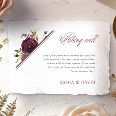 Burgandy Rose wishing well enclosure invite card design