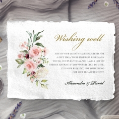 Geometric Bloom wedding wishing well enclosure card
