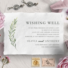 Olive Leaves wishing well enclosure stationery invite card design