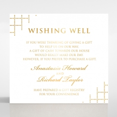 Quilted Letterpress Elegance with foil gift registry card