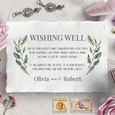 Rustic Affair wishing well enclosure stationery card design