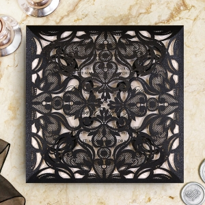 Black Divine Damask Wedding Invite Design