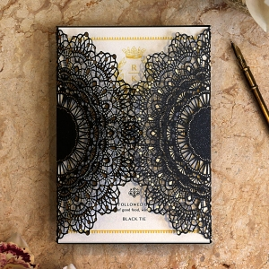 Black Doily Elegance Stationery design