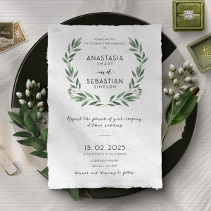 Country Garland Wedding Invitation Card