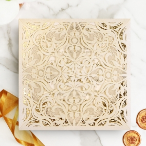 Divine Damask with Foil Wedding Invitation Card Design