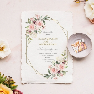 Geometric Bloom Wedding Invite Design