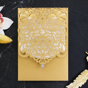 Golden Baroque Pocket with Foil Wedding Invitation Design