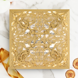 Golden Divine Damask Wedding Invitation Design