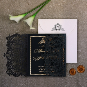 Luxe Royal Lace with Foil Invitation Design