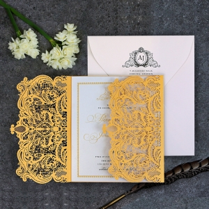 Royal Lace Wedding Invite Card Design