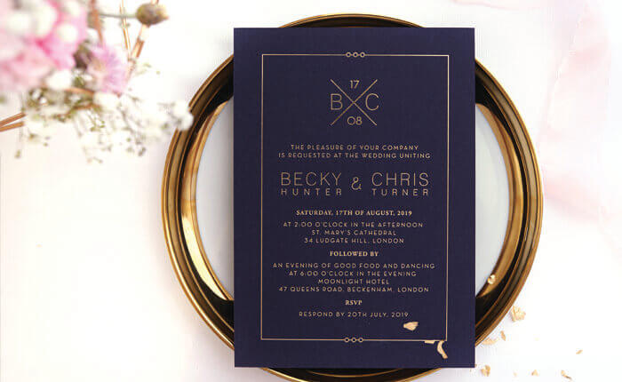 Wedding Invites Embossed Laser Cut Letterpress Gold Foiled