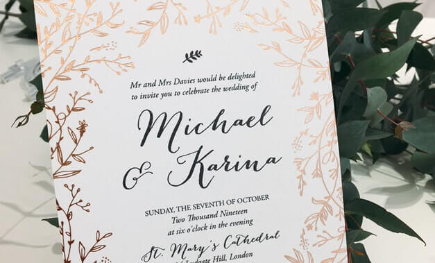 Wedding invitations laser cut invites stationery cards online glamorous matte white invite edged with embossed floral laser cut gates enfolded with a filmwisefo