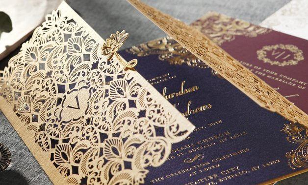 Wedding invitations laser cut invites stationery cards online sparkling golden victorian inspired laser cut gates adorned with a golden floral embellishment enclosing filmwisefo