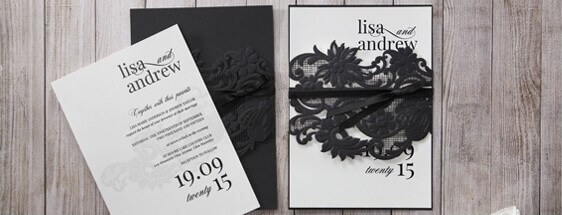 Wedding invitations online laser cut invites cards affordable elegant black and white invite printed in high rise fonts embraced by the enthralling filmwisefo